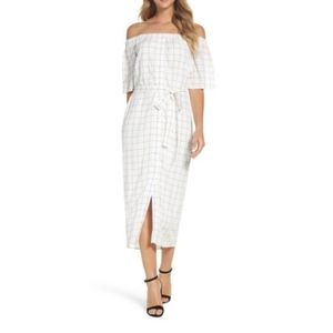 NWT Charles Henry window pane off shoulder dress